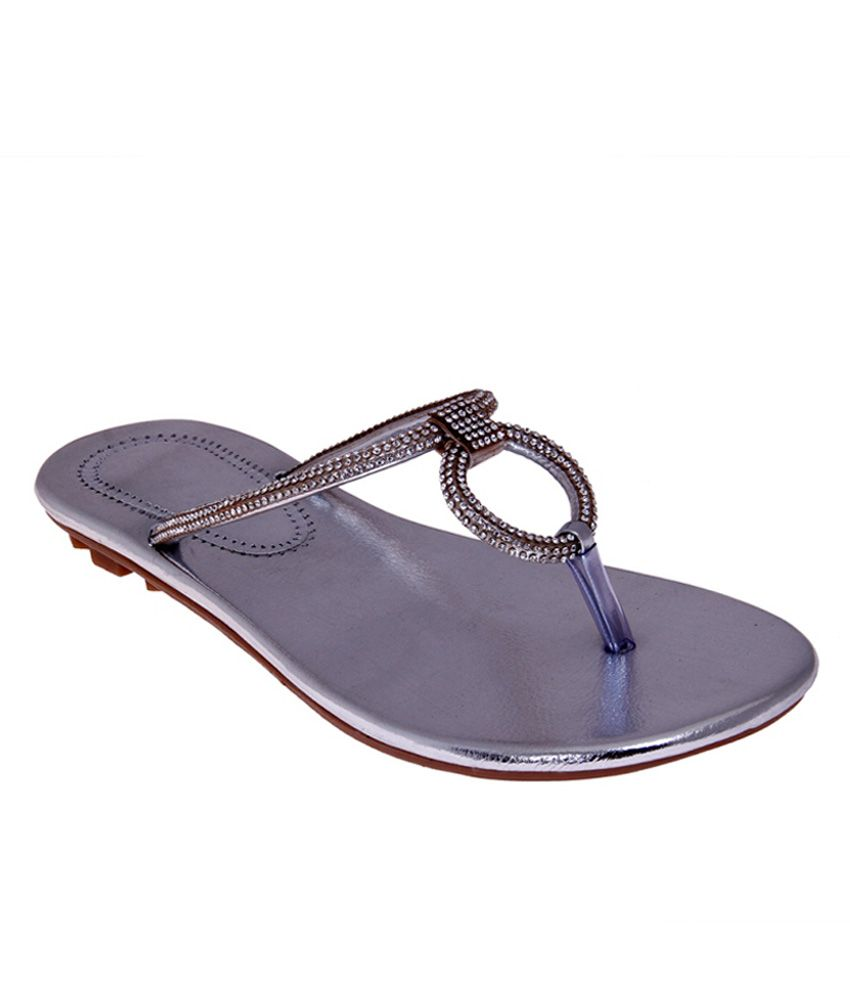 Foot Frick Silver Flat Slip-on & Sandal
