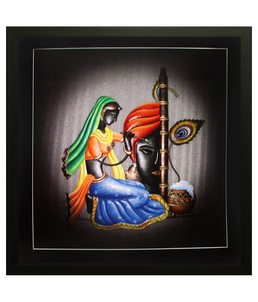 SAF Multicolour Wooden UV Printed Painting with Frame