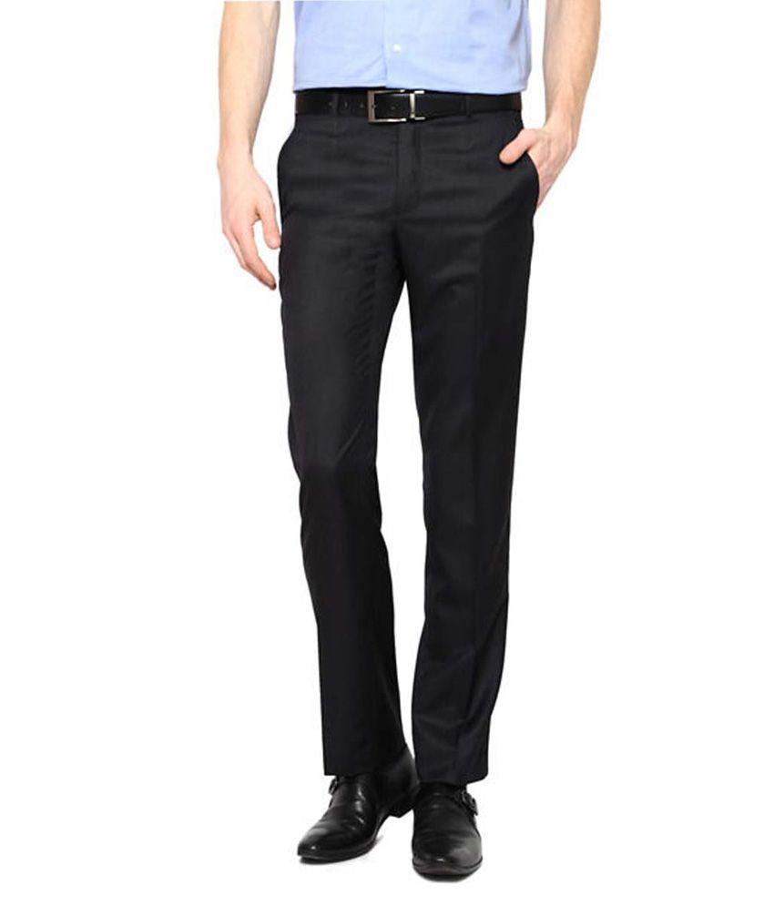 AD & AV Black Regular Fit Flat Trousers