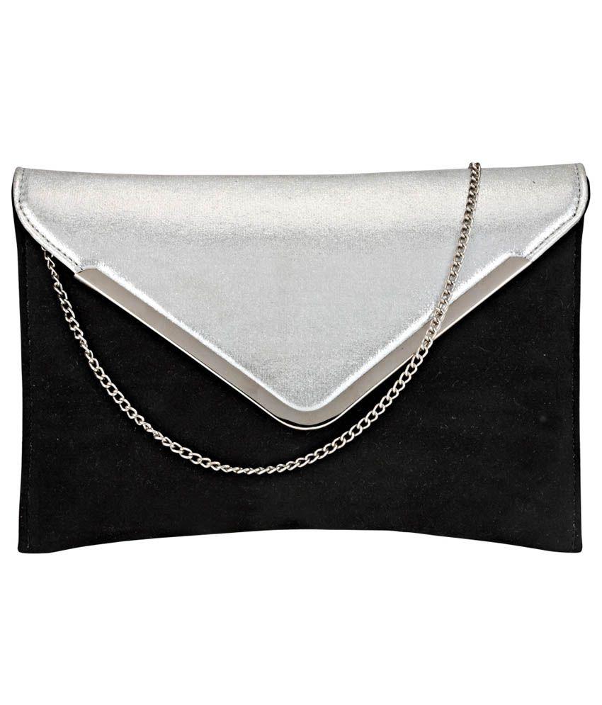 Contrast Black Fabric Clutch