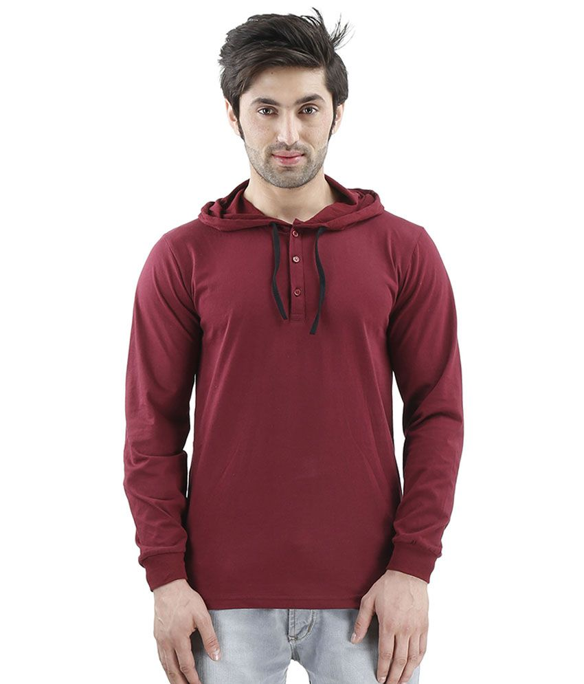Inkovy Maroon Hooded T Shirts