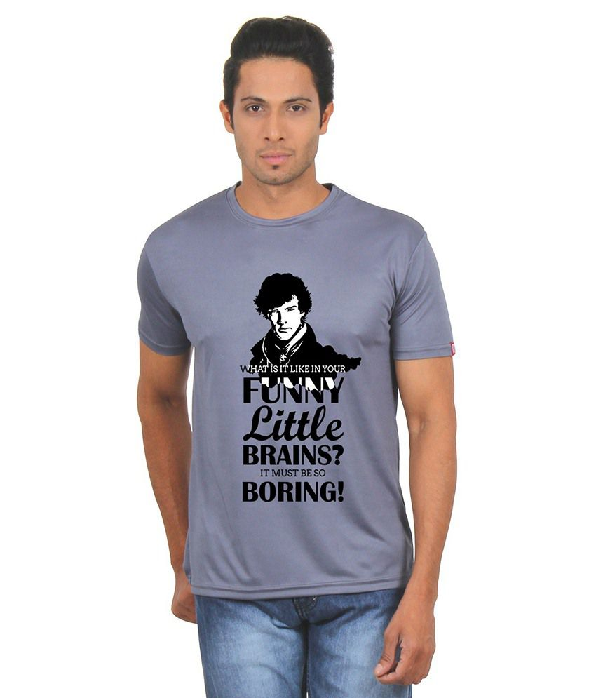 Fanideaz Grey Round T Shirts