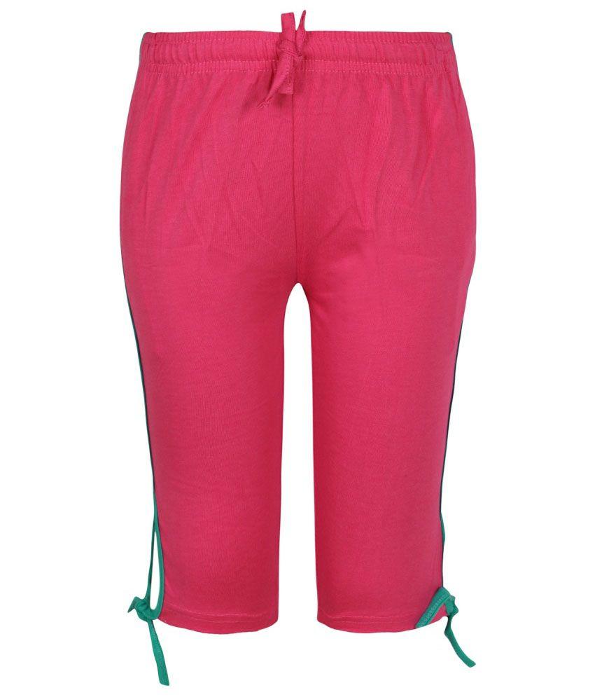 Jazzup Pink Cotton Capri for Girls