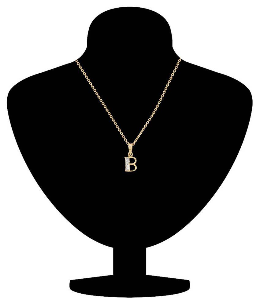 Mahi Golden Alloy CZ B Letter Pendant With Chain