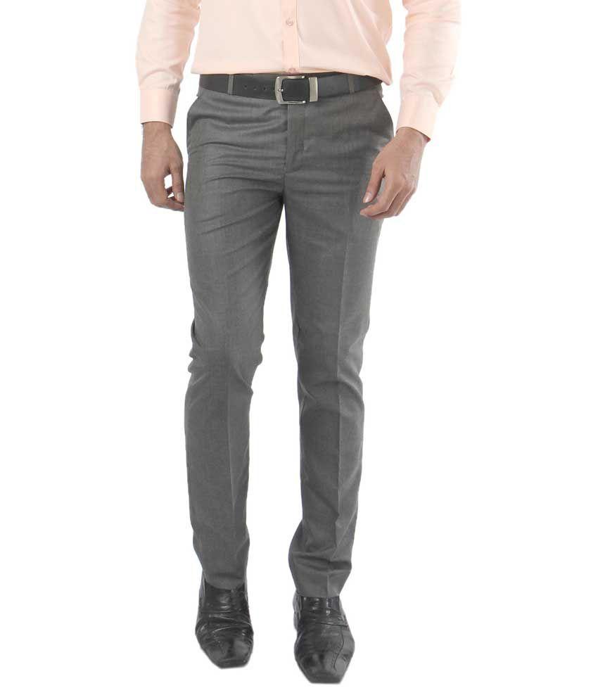 Zido Grey Regular Fit Flat Trousers