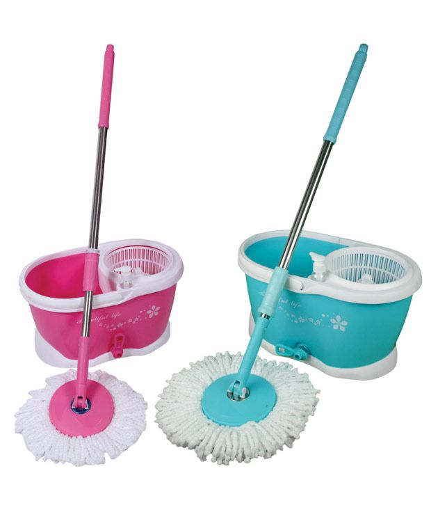Birdy Set Of Blue & Pink Bucket, Rod And Mop Head With Microfiber