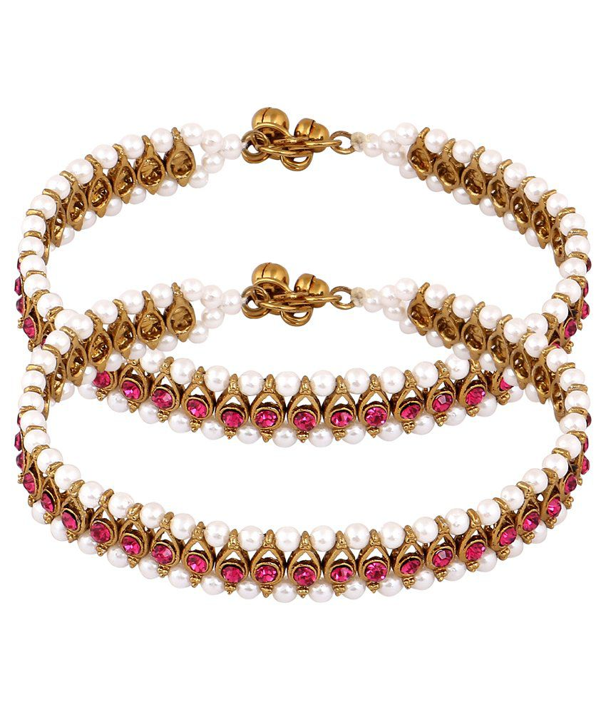 Inaya Multicolour Brass Pair of Anklets