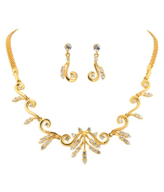 Touchstone AD Golden Sparkle Necklace Set