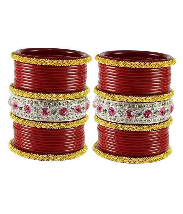Vidhya Kangan Red Brass and Copper Bangle Set Pack of 46