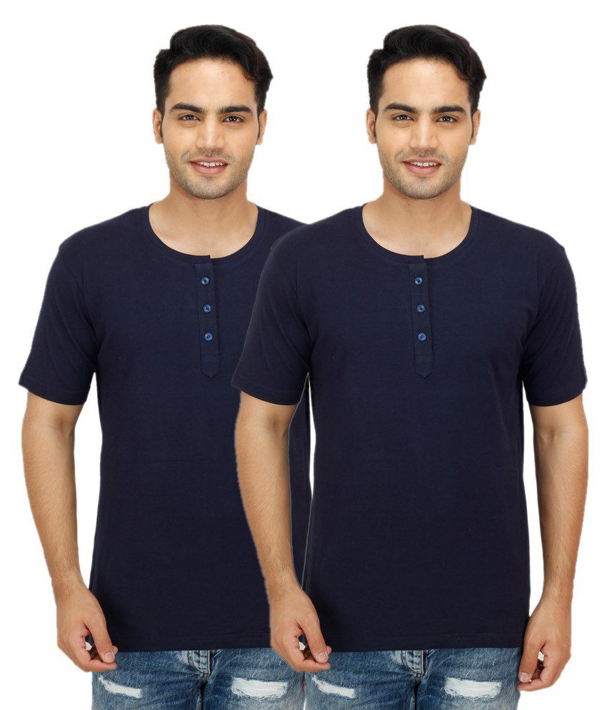Christy's Collection Navy Henley T Shirts Pack of 2