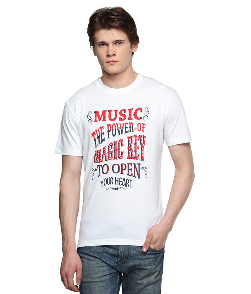 Tempt White Round T Shirts