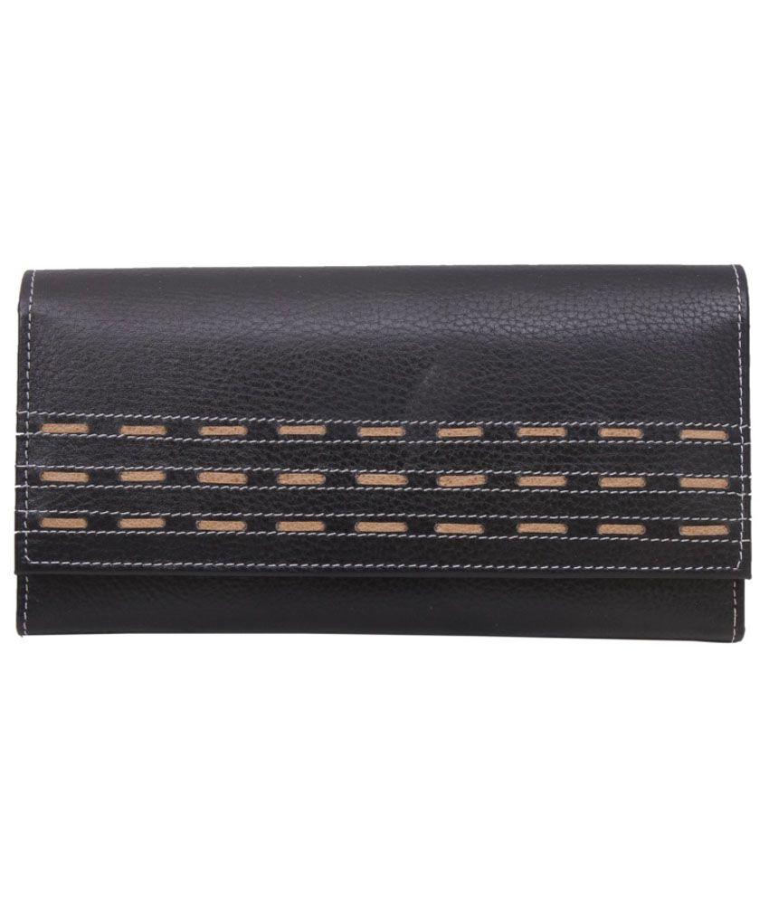 UC Black Leather Regular Wallet for Women