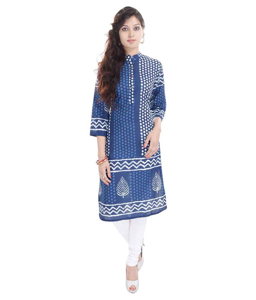 Rajlaxmi Blue Cotton Straight Kurti