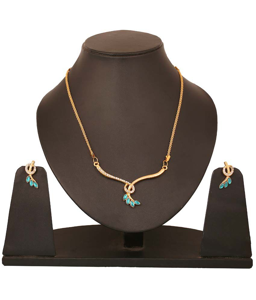 Touchstone Golden Swirl Green Marquise Necklace Set