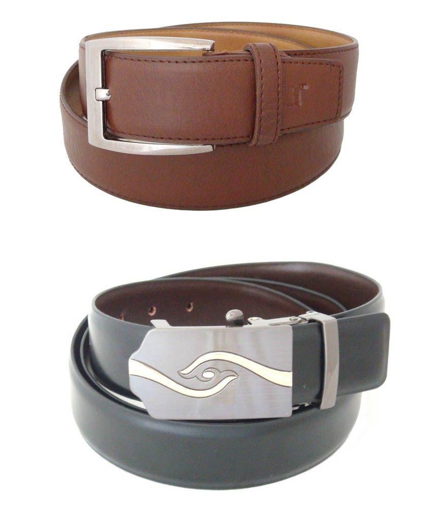 SFA Brown And Black Formal Belt For Men - Set Of 2