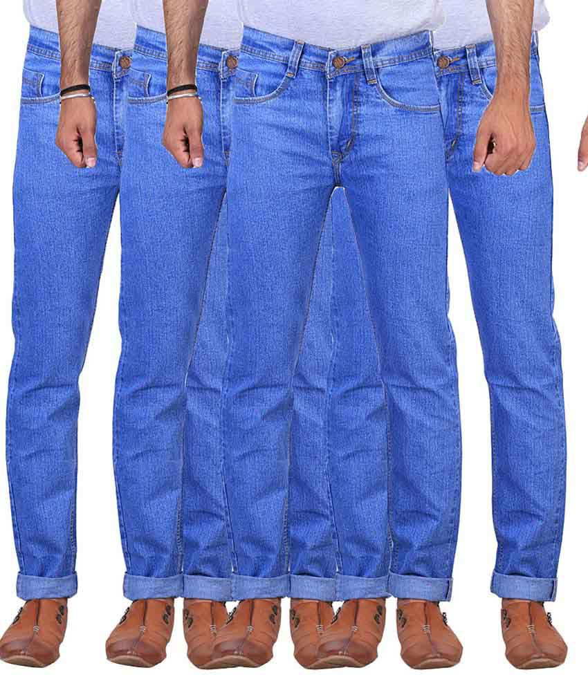 X-cross Blue Slim Fit Jeans Pack of 4