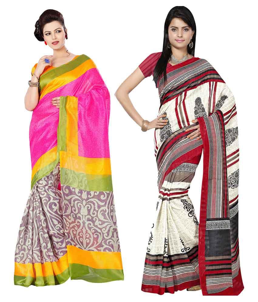 Arth Multi Color Bhagalpuri Silk Saree Combos