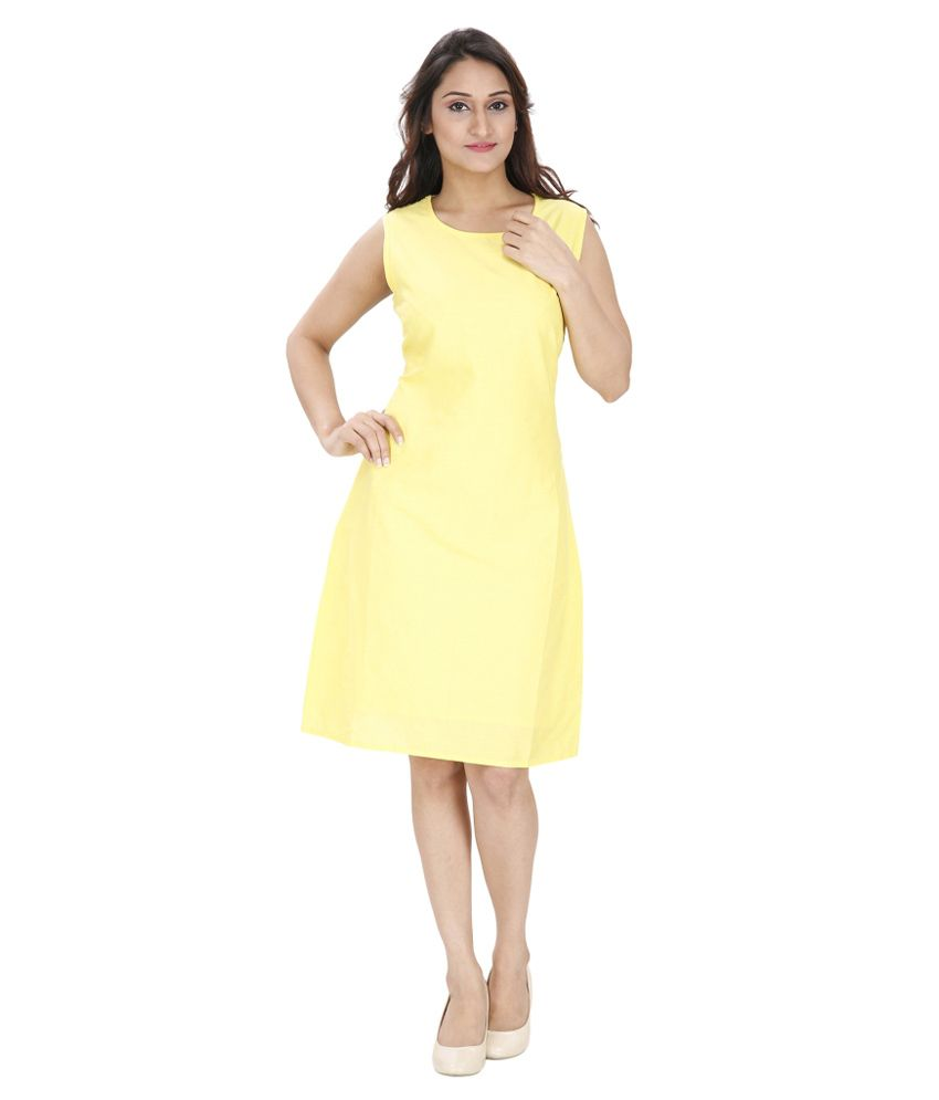 Svt Ada Collections Yellow Linen Dresses