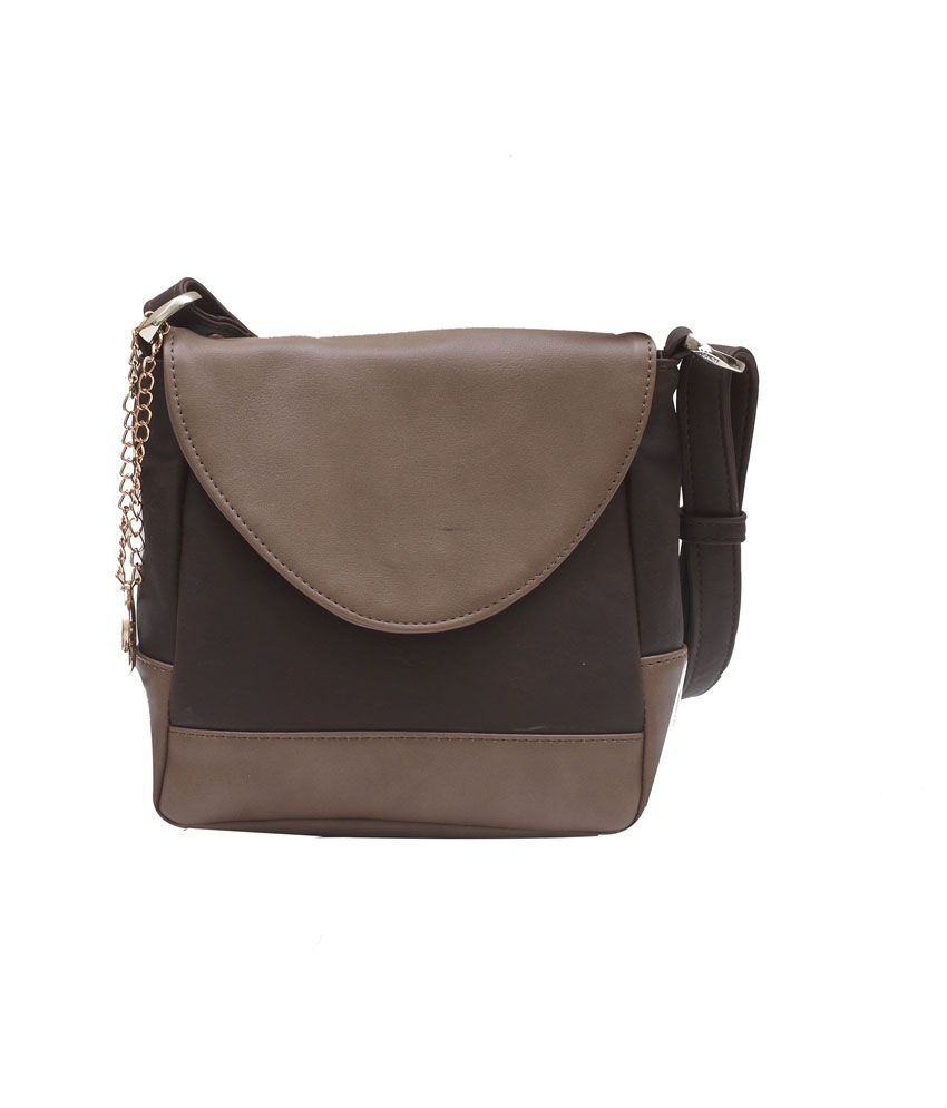 Busta Brown Faux Leather Sling Bag