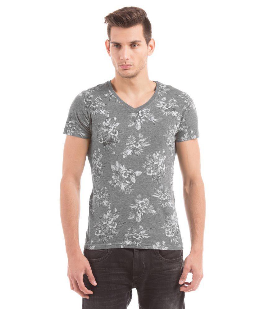 Shuffle Grey V-Neck T Shirts