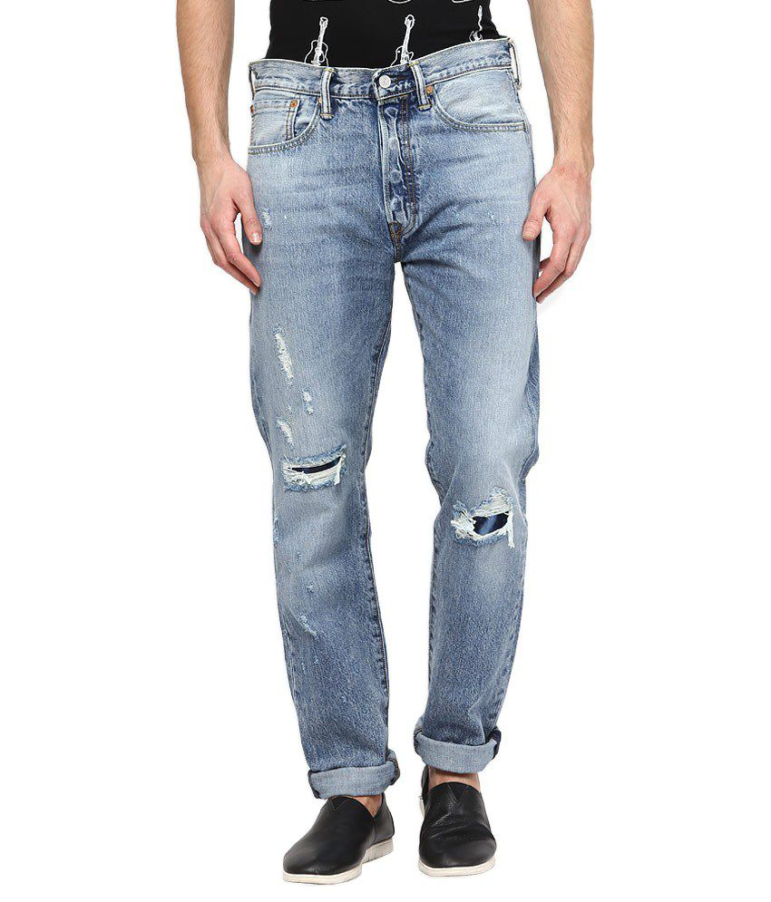 Levi's Blue Regular fit Faded Jeans 501 CT