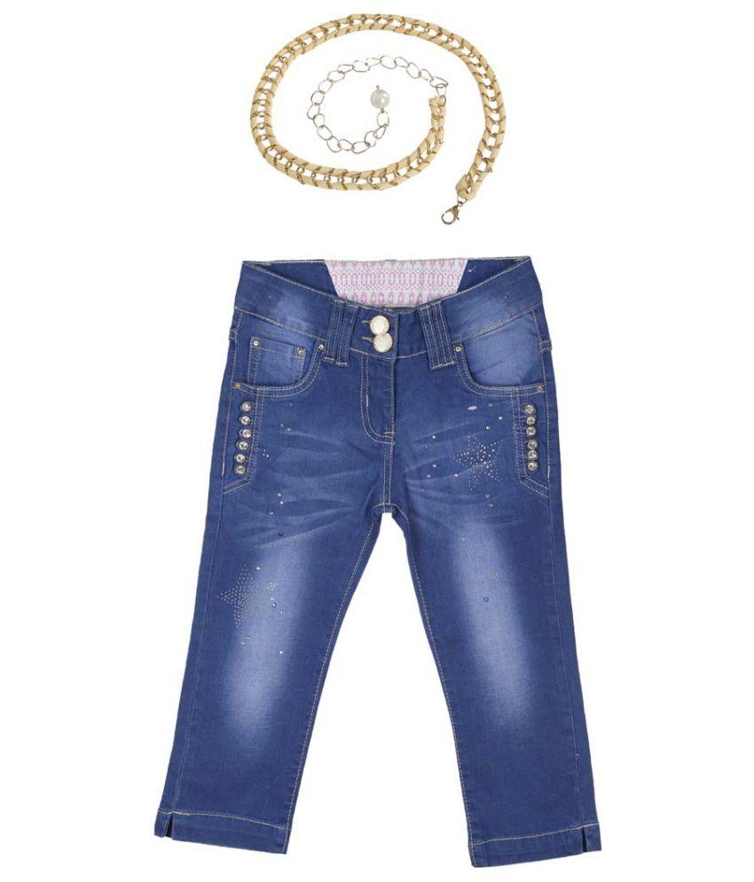 Lilliput Blue Cotton Spandex Capris