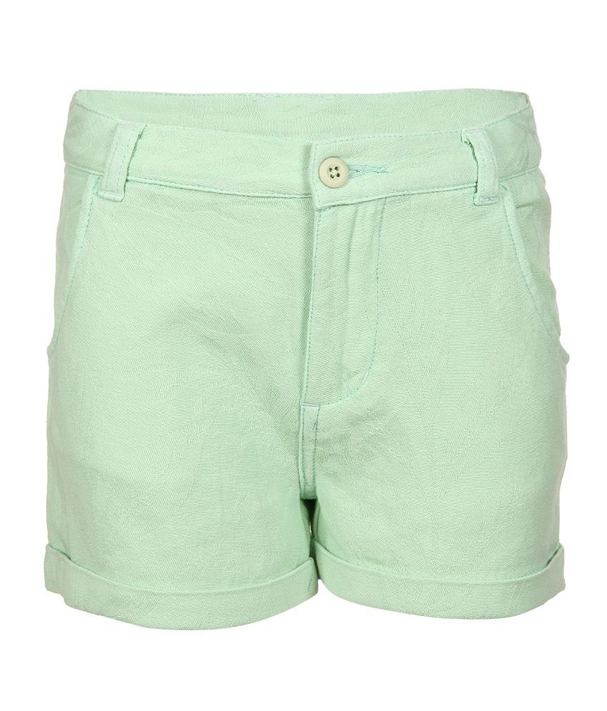 Miss Alibi Green Cotton Blend Shorts For Girls