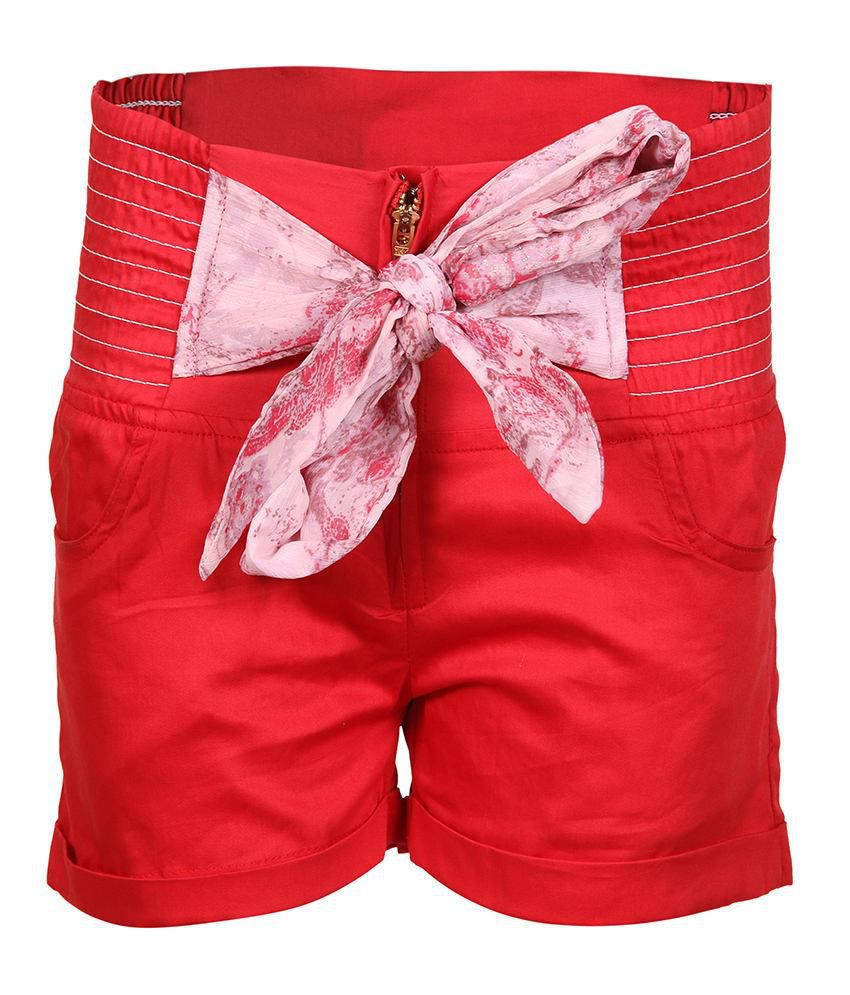 Miss Alibi Red Cotton Shorts For Girls