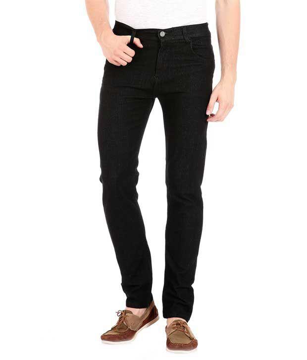 Falkon Fashion Black Slim Fit Solid Jeans Pack of 2