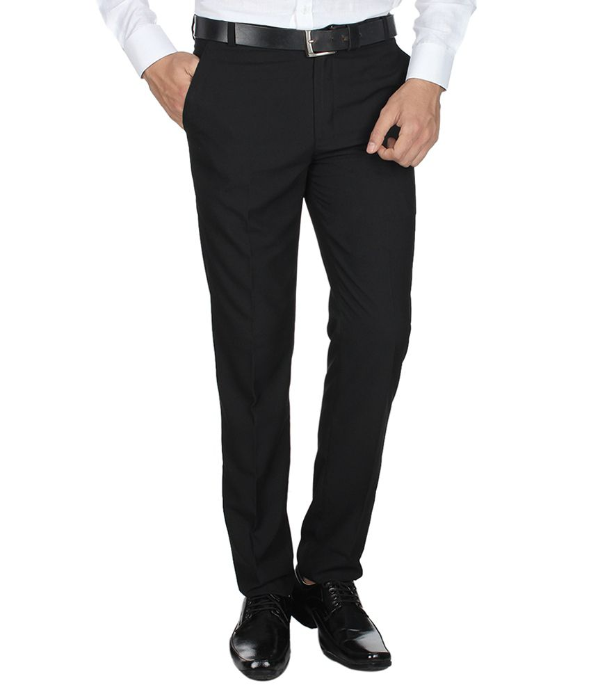 Shaurya-F Black Regular Fit Flat Trousers