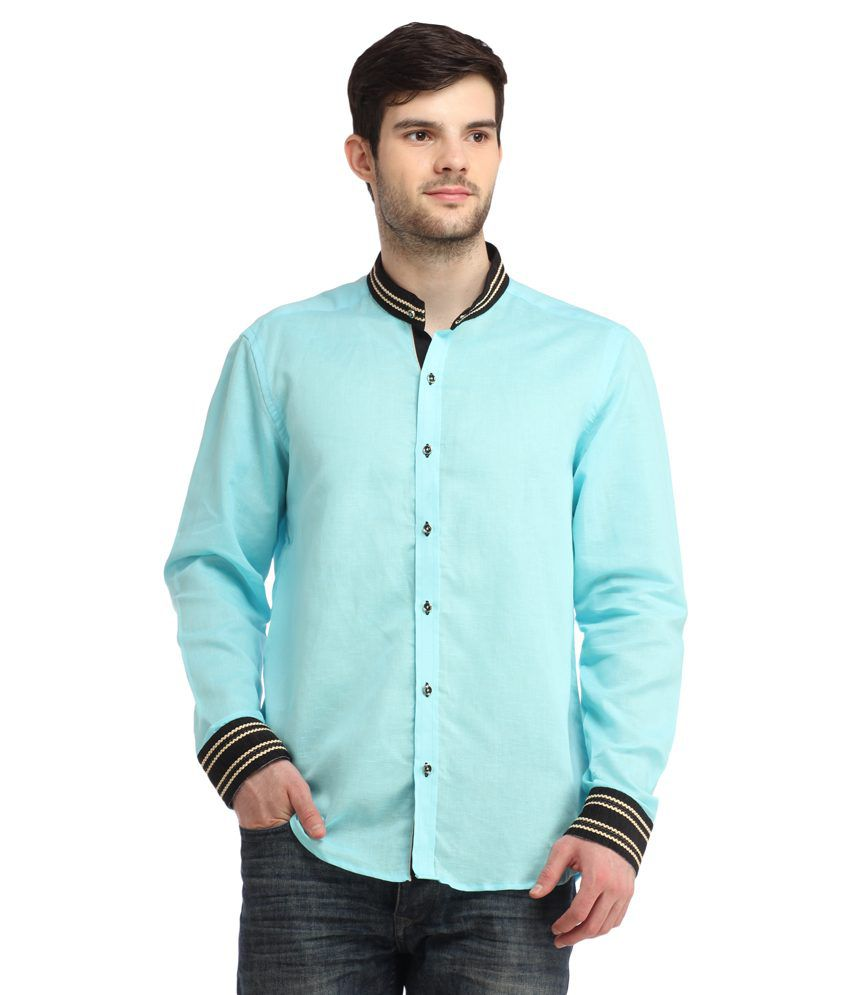 Spawn Blue Partywear Slim Fit Shirts