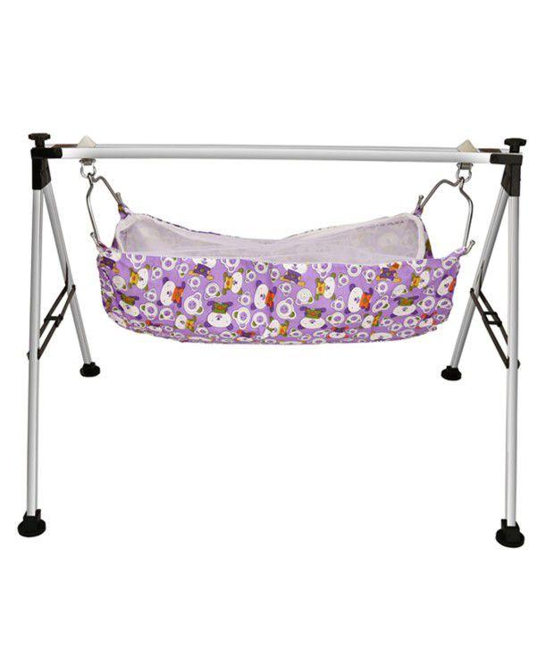 Cute Baby Black Stainless Steel Folding Baby Cradle