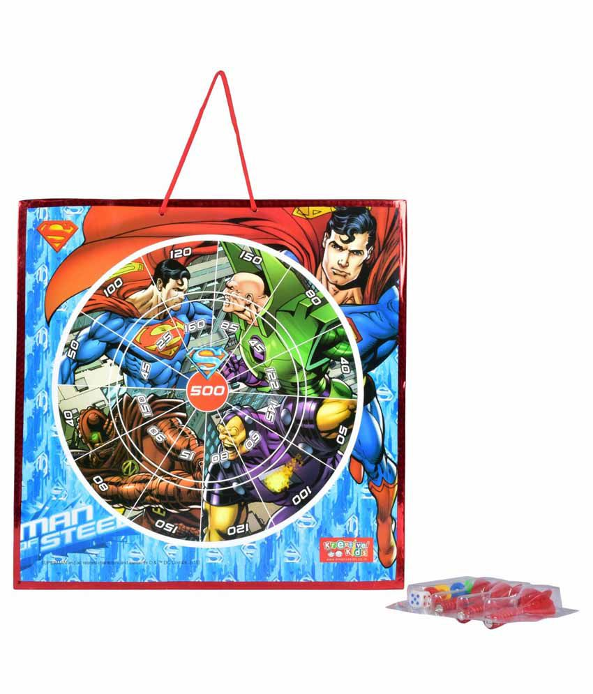 Kreative Kids Superman Magnetic Dart Board with Snake and Ladders Game