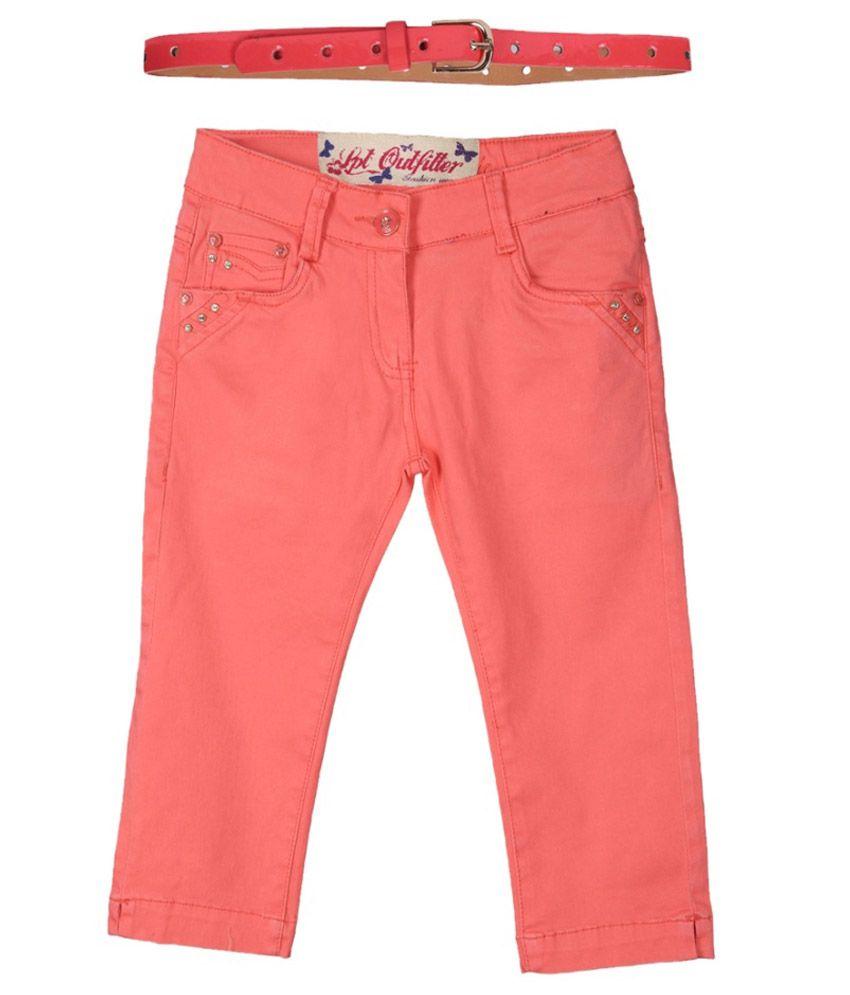 Lilliput Peach Cotton Spandex Capris with Belt