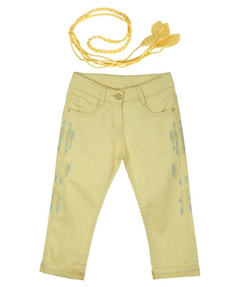 Lilliput Yellow Cotton Spandex Capris with Belt