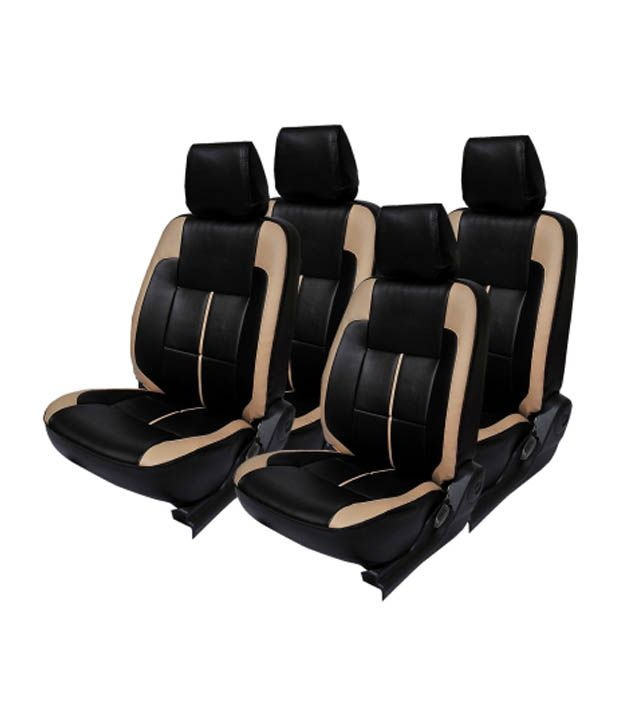 Musicar Black And Beige Leatherite Seat Cover For Hyundai