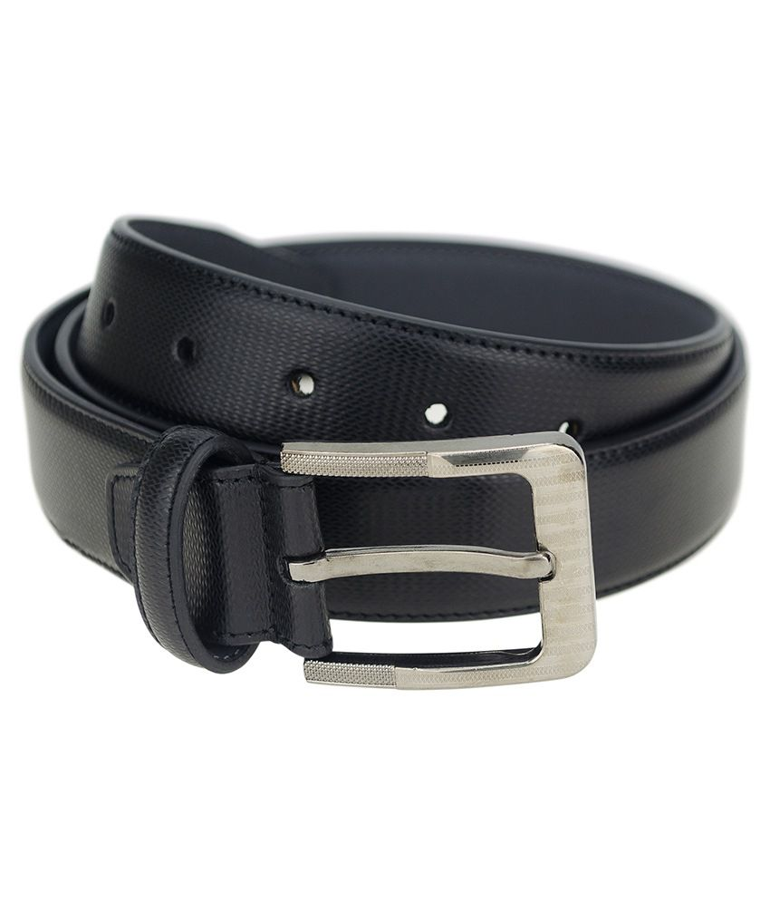 Zeva Black Leather Pin Buckle Single Belt