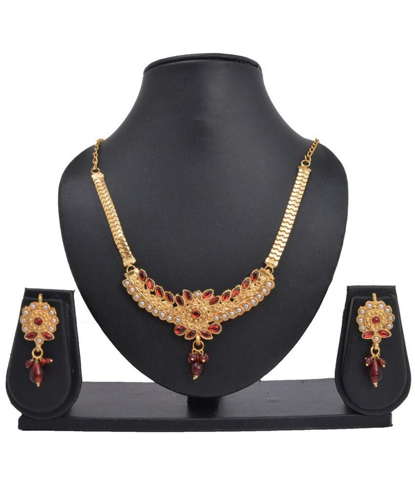 Gift Punch Services Golden and Red Brass Necklace Set
