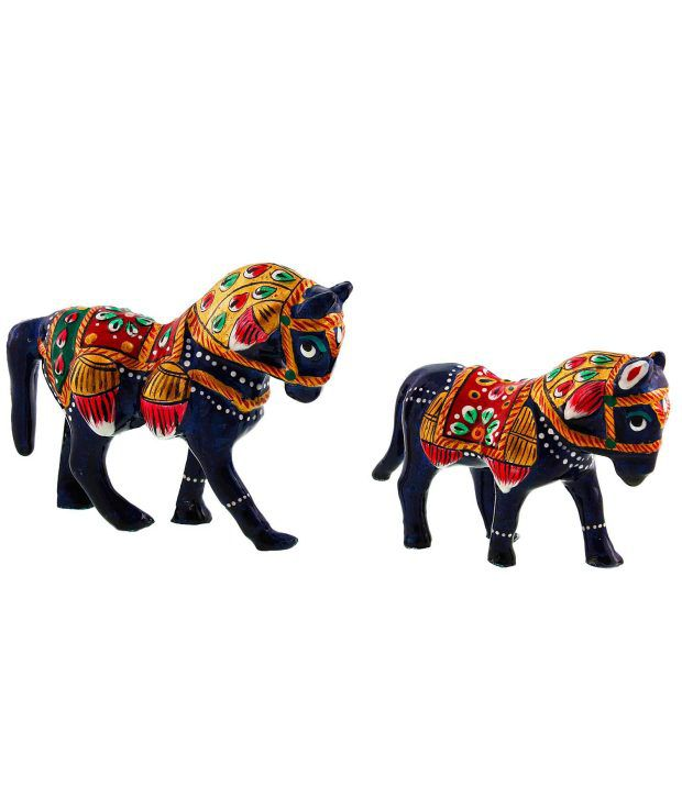Kiran Udyog Textured Brass Horse - Set of 2