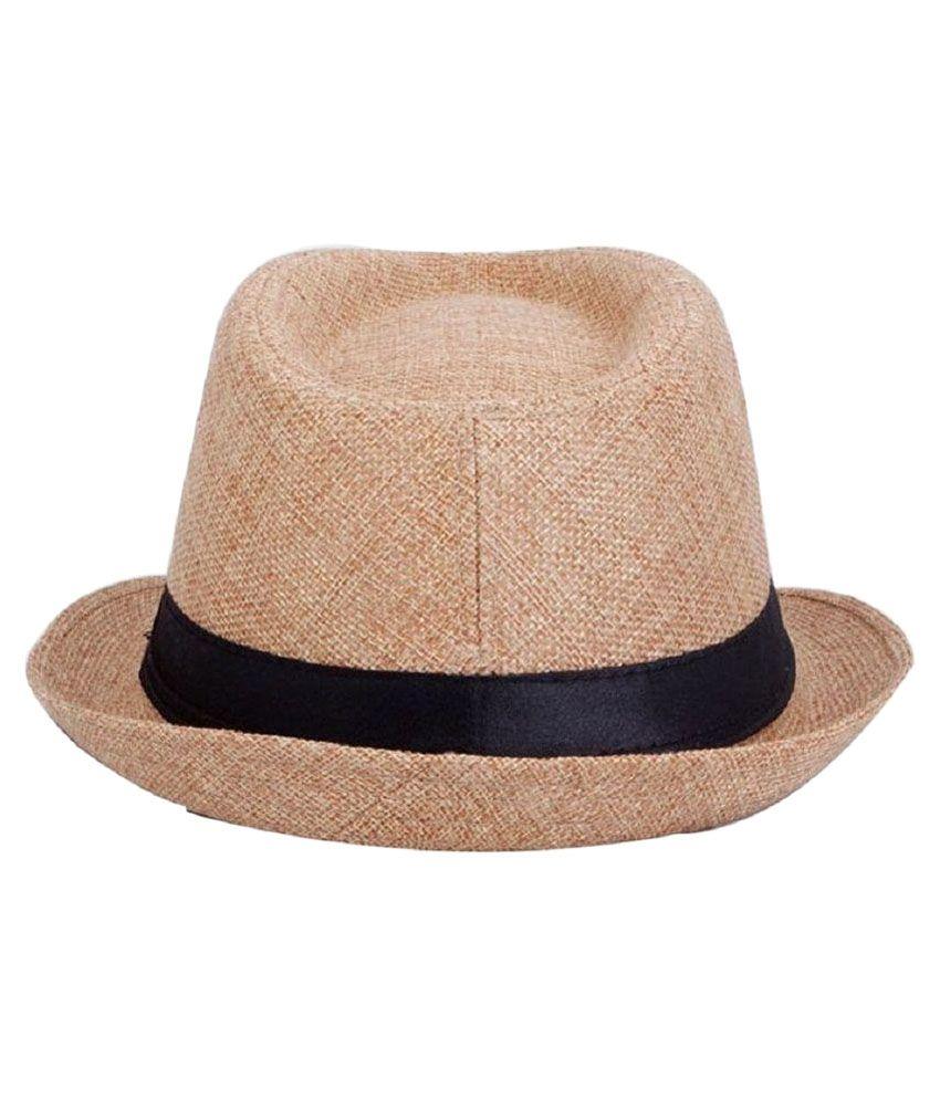 Login Beige Polyester Cow Boy Hat for Men