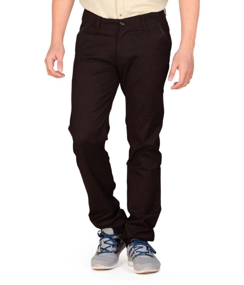 Private Image Brown Slim Fit Pleated Trousers Casuals