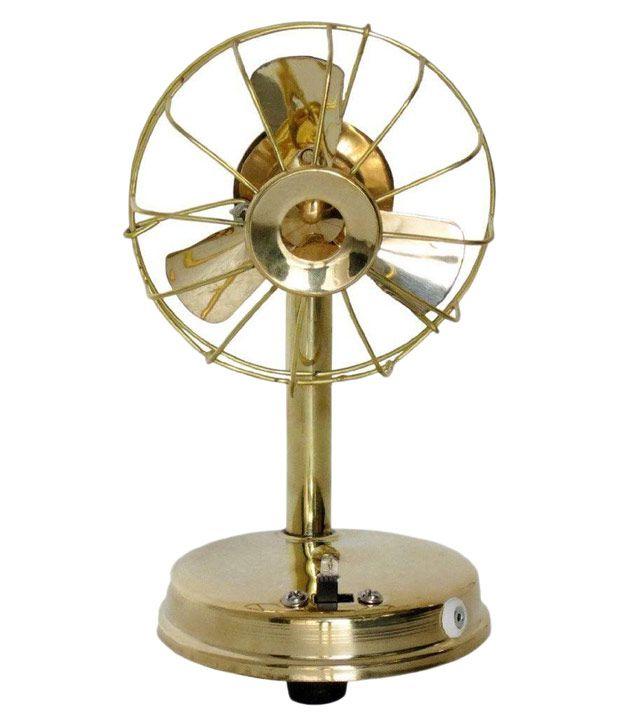 Desi Karigar Golden Brass Fan with Charger
