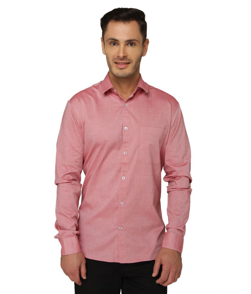 Bluvior Peach Casuals Slim Fit Shirt