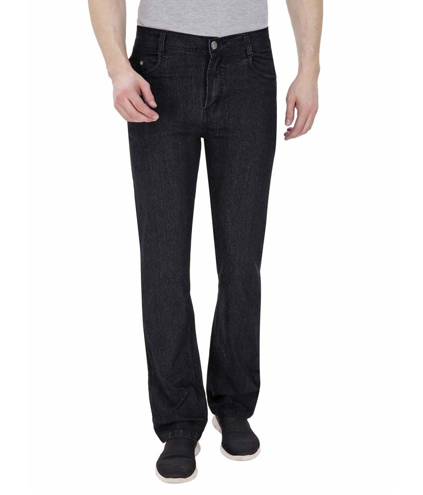 Fizzaro Black Regular Fit Solid Jeans