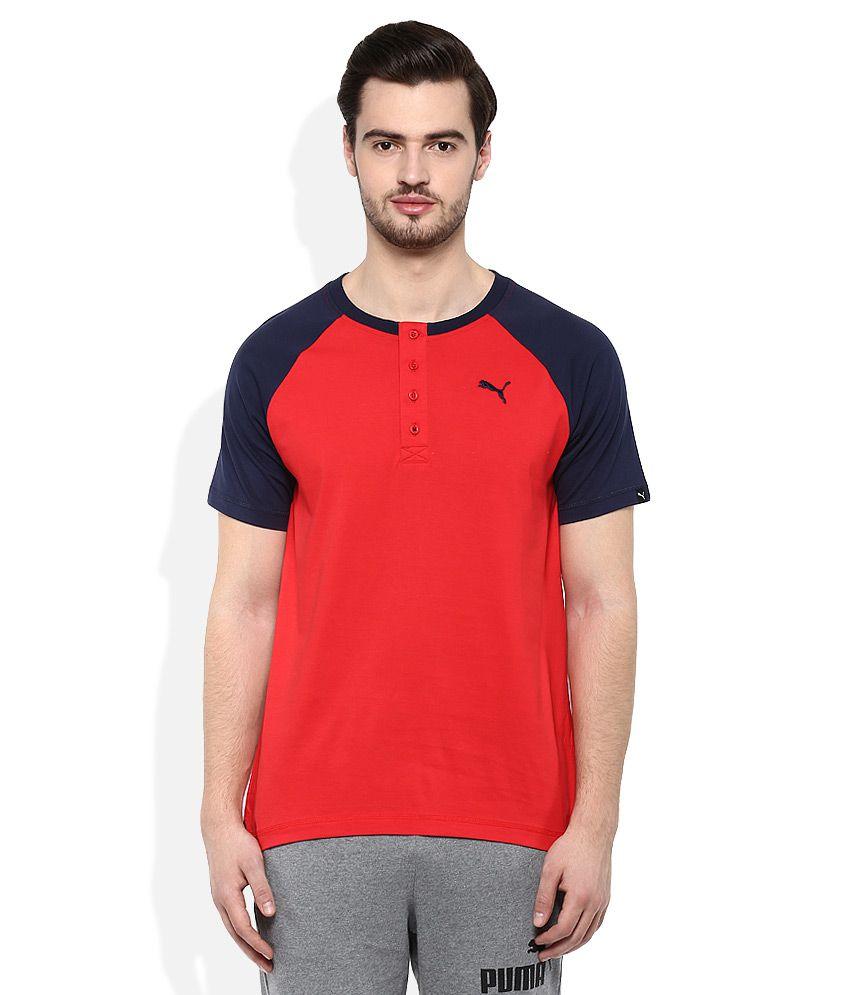 Puma Red Round neck T Shirt