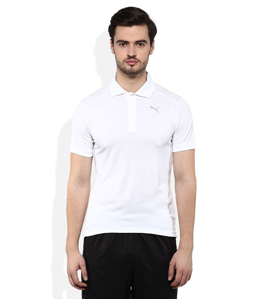 Puma White Polo Neck T Shirt