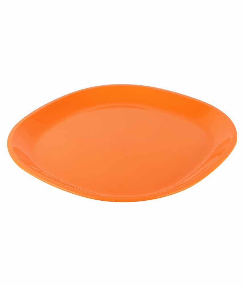 Ratan Plastics Orange Square Plates - Pack Of 3: Buy Online at Best ...