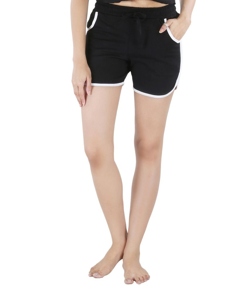 Nite Flite Black Cotton Hot Shorts with White Piping