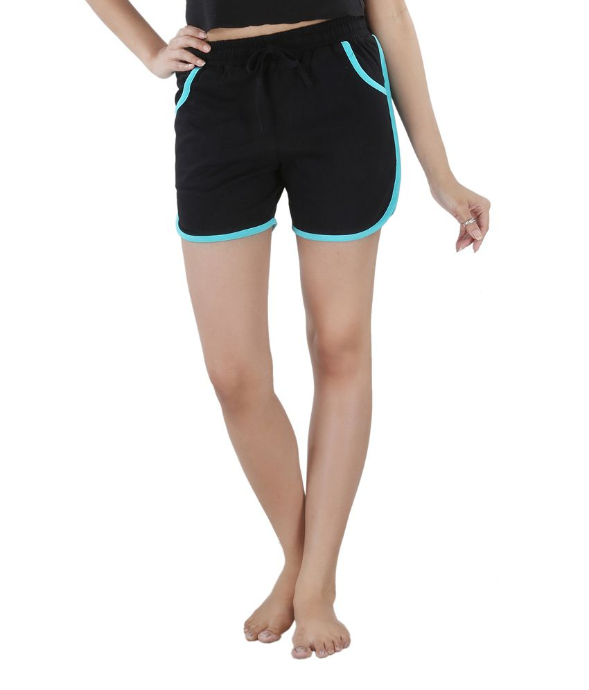 Nite Flite Black Cotton Hot Shorts with Turquoise Piping