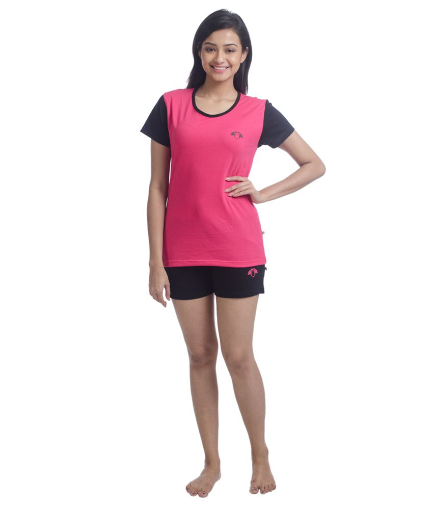 Nite Flite Colour Block Cotton Shorts Set